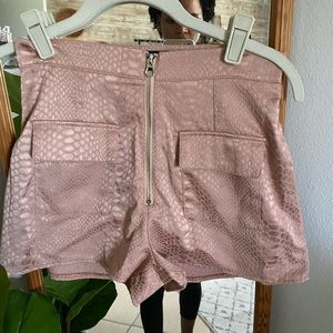 High waisted Miss guided Pink satin shorts